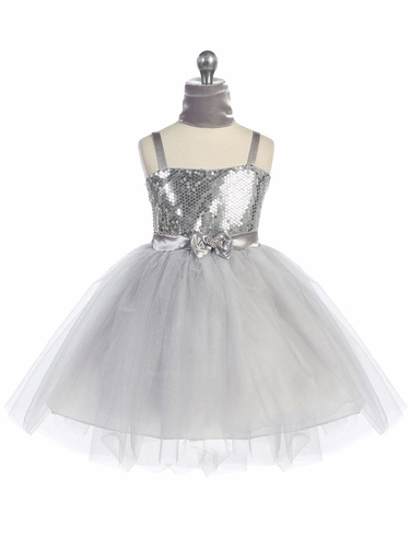 Silver Sweet Heart Sequin Bodice w/ Crystal Tulle Skirt
