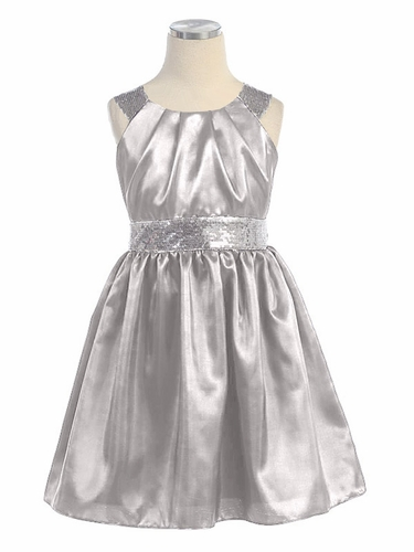 Silver Taffeta Dress w/ Sequins Belt & Shoulders