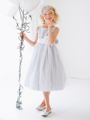 Silver Vintage Satin Tulle Dress