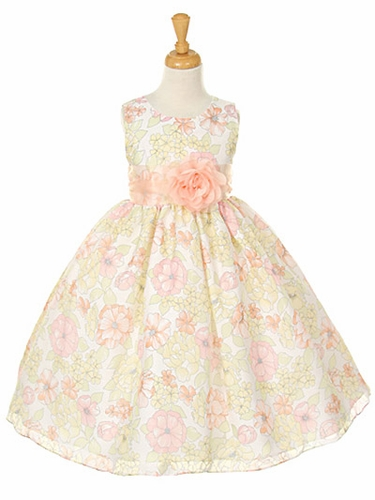 Floral Print Organza Dress w/ Peach Sash & Flower