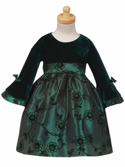 Stretch Velvet Bodice with Flocked Green Taffeta Skirt