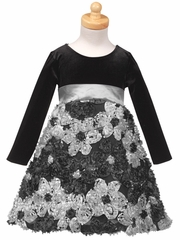 Stretch Velvet Bodice with Silver Ribbon Embroidered Tulle Skirt
