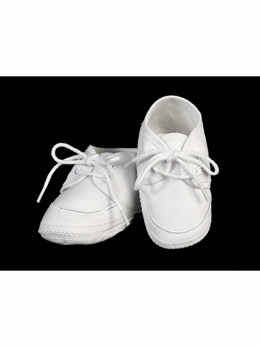 Swea Pea & Lilli White Cotton Boys Bootie Christening Shoes