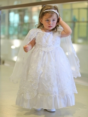 Taffeta Dress w/ Embroidered Organza Overlay