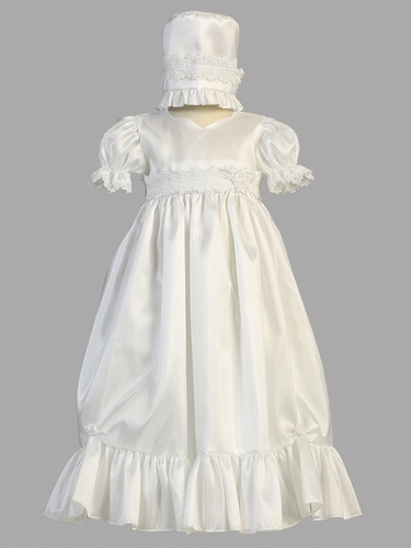 Taffeta Dress w/Lace Accent Girls Christening Gown