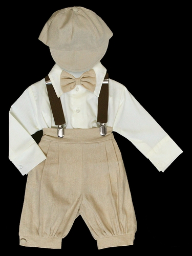Tan Bermuda Set w/ Suspenders & Hat