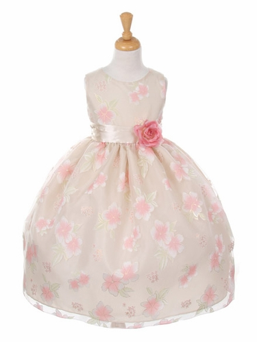 Taupe Floral Organza Dress w/ Sash