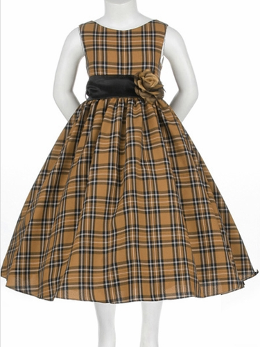 Taupe Flower Girl Dress - Holiday Checkered Dress