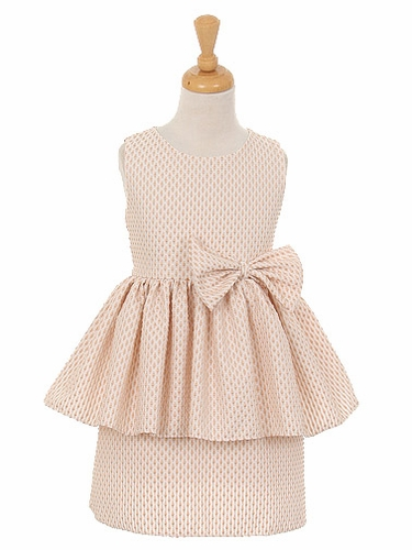 Taupe Petite Polka Dot Jacquard Peplum Dress w/ Bow