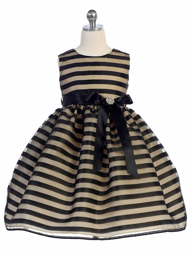 Taupe Striped Organza Overlay Ribbon Dress