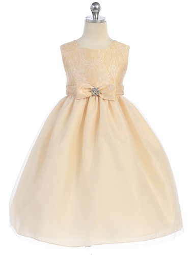 Taupe Textured Bodice w/ Bow & Rhinestone Dress