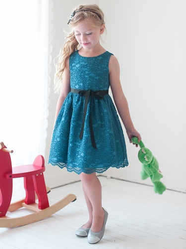Teal Lace Dress w/ Sash