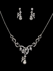 Teardrop Rhinestone Necklace & Earring Set
