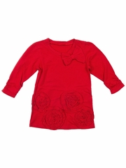 Trish Scully Child Christmas Floral Red Tunic