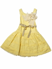 Trish Scully Child Dobby & Lace Yellow Pin-tuck Butterfly Dress
