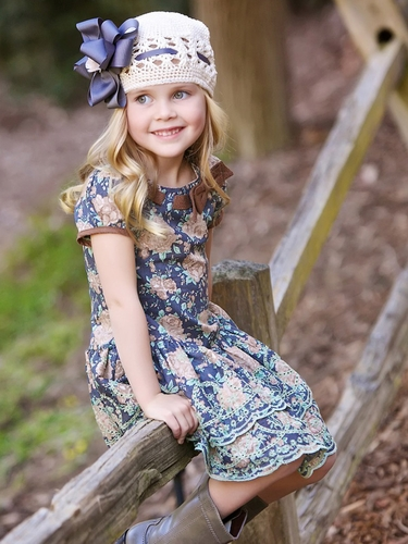 Trish Scully Child 'Giddy Up' Floral Bow Neckline Dress