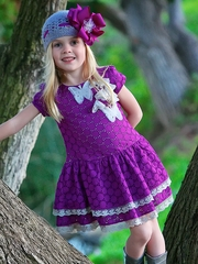 Trish Scully Child Purple Embroidery Butterfly Dress