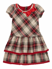 Trish Scully Child Tartan Holiday Bow Neckline Dress