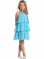 Turquoise 3-Tier Chiffon Sequins Dress