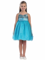 Turquoise / Aqua Sequined Bodice Pageant Dress