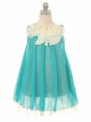 Turquoise Chiffon Dress w/ Ivory Flower Neckline