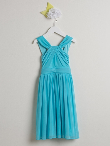 Turquoise Crossover Matte Jersey Dress