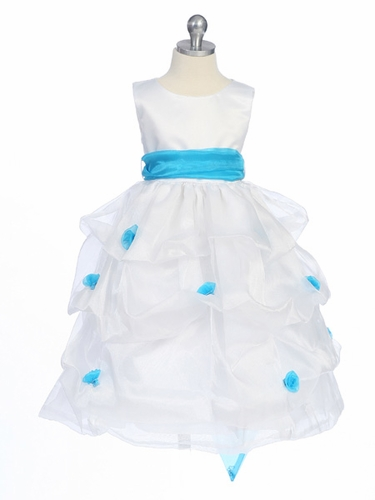 Turquoise Flower Girl Dress - Matte Satin Bodice Gathered Organza