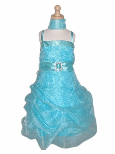 Turquoise Flower Girl Dress - Organza w/ Rhinestone Mini Dress