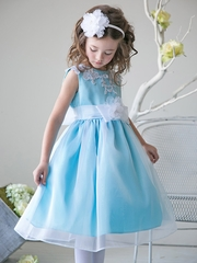 Turquoise Girls Organza Dress w/ Lace Bodice