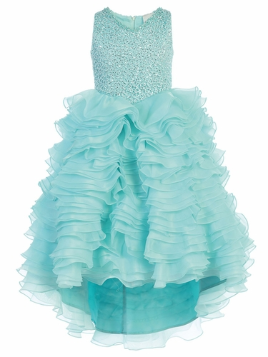 Turquoise  Gwen and Zoe V-Neck Sparkle Ruffle High Low Dress