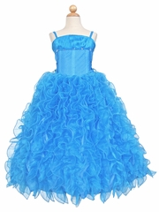 Turquoise Lace Up Shimmery Bodice with Ruffled Organza Skirt