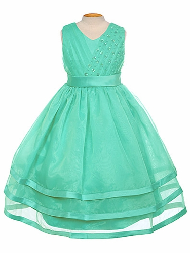 Turquoise Organza Embellished V-Neck Three Layer Dress