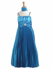 Turquoise Pleated Shiny Satin Long Dress