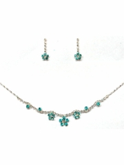 Turquoise Rhinestone w/ Swarovski Crystal Earrings & Necklace Set