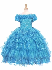 Turquoise Ruffle Layered Embroidered Organza Dress