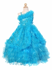 Turquoise Ruffled One Off Shoulder Bodice w/ Sequins Embroidery