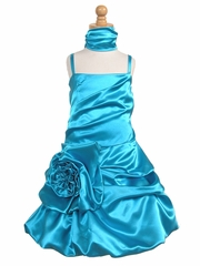 Turquoise Satin Bubble Dress w/ Gathered Flower & Shawl