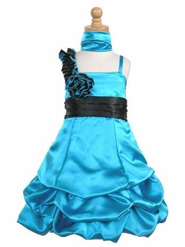 Turquoise Satin Gathered Bubble Dress w/ Two Tone Flower