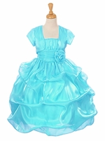 Turquoise Satin Organza Pickup Dress w/ Gathered Top & Bolero