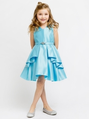 Turquoise Satin Sleeveless V-Neck Dress w/ Ruffles