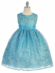 Turquoise Sequins Cord Netting Dress w/ Organza Sash