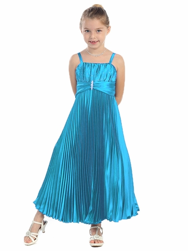 Turquoise Shiny Satin Pleated Long Dress