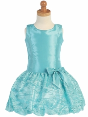 Turquoise Taffeta Drop Waist Dress