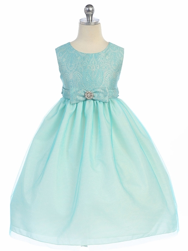 Turquoise Textured Bodice w/ Bow & Rhinestone Dress