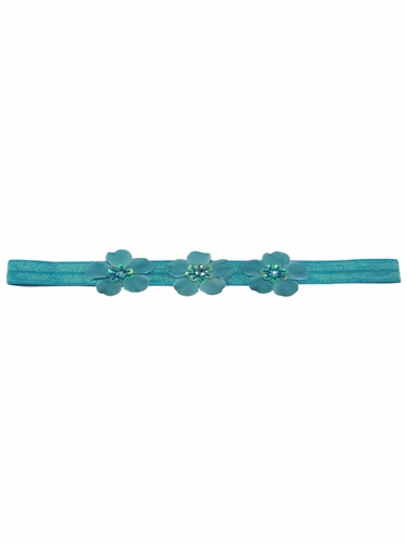 Turquoise Three Flower Infant Headband