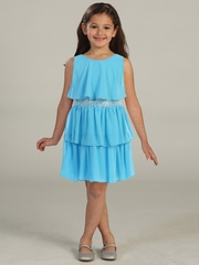 Turquoise Tiered Chiffon Dress w/ Sequins Belt