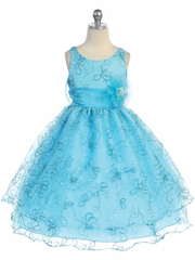 Turquoise Two Layer Embroidered Organza Dress