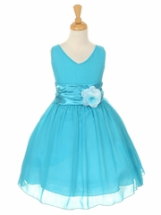 Turquoise Yoryu Chiffon Double V-Neck Dress