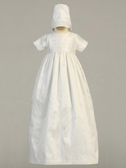 Unisex White Silk Heirloom Christening Gown