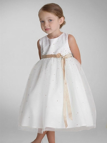 US Angels Champagne Sleeveless Satin Tulle Dress
